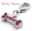 077a- Be-Charm hanger of schuiver *Baby Bone* Swarovski® Crystals