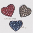 95aa Schuiver *Hart* vol Crystal Rhinestone Strass, in Roze, Crystal wit, Blauw. 10 mm