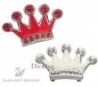 3a Swarovski® Crystal Enamel *Crown* in Wit en Rood, Breed 2,5 cm, Hoog 1,5 cm