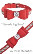 Halsband 1 *Nevada Bow* Rood * Maat XS/S: 28 cm - Maat S/M: 33 cm